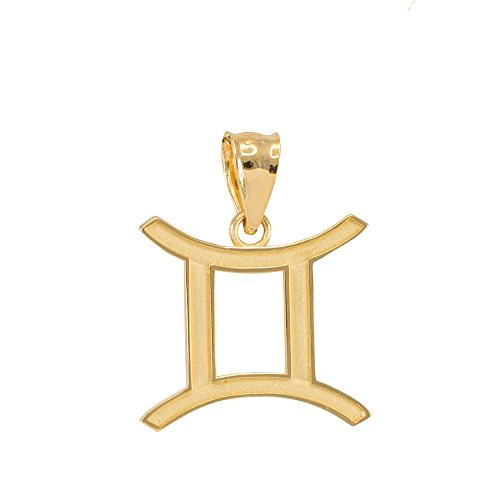 Gold Gemini Zodiac Pendant (Satin Finish 14k Yellow Gold Personalized Gemini Zodiac Sign Charm Pendant)