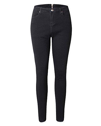 Donna Slim Matita Pantaloni Nero Jeans Lunghi Cerniera Skinny Posteriore zrv6zq