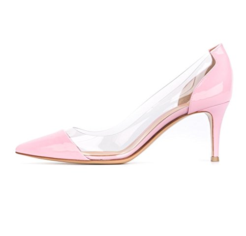 Leather Pink 65mm Wedding Heel Dress Toe Shinny Pumps Pumps Mid Transparent Womens Cap Eldof Stilettos PVC Shoes Pointed Event PVC nf7pHawpOq