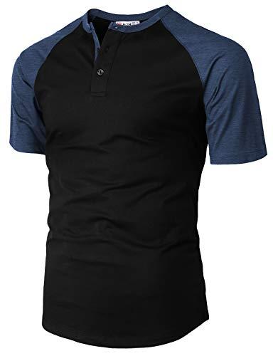 (H2H Men's Casual Slim Fit Short Sleeve Henley Shirt Raglan Baseball T-Shirts Tee DARKBLUE US L/Asia XL (CMTTS233))