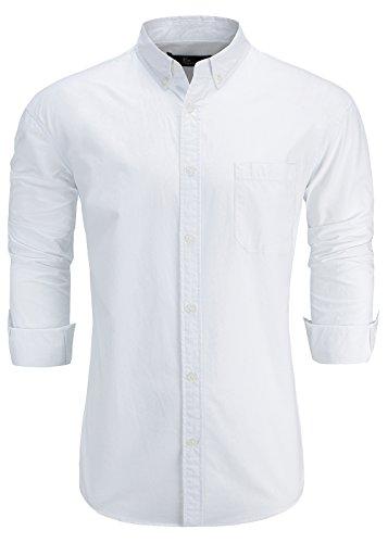 - Emiqude Men's 100% Oxford Cotton Slim Fit Long Sleeve Button Down Solid Dress Shirt Medium White