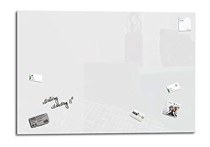 Smart Glass Board ® Pizarra de cristal magnética/Tablero de notas magnético en vidrio + 4 Imanes SuperDym + 1 Marcador + 1 Borrador, 130 x 90 cm ...