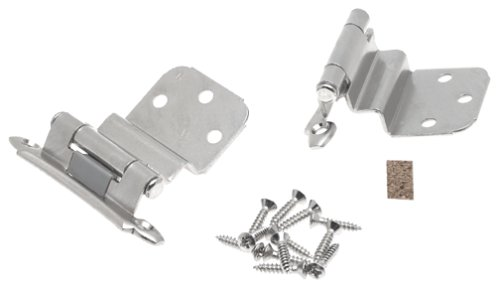 Cabinet Chrome Hinges (Amerock BPR792826 3/8in (10 mm) Inset Self-Closing, Face Mount Polished Chrome Hinge - 2 Pack)