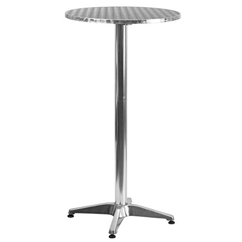 (Flash Furniture 23.25'' Round Aluminum Indoor-Outdoor Folding Bar Height Table with Base (Renewed))