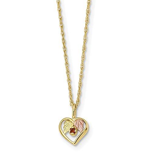 Brilliant Bijou 10k Tri-Color Black Hills Gold Heart Garnet Necklace 18 inches