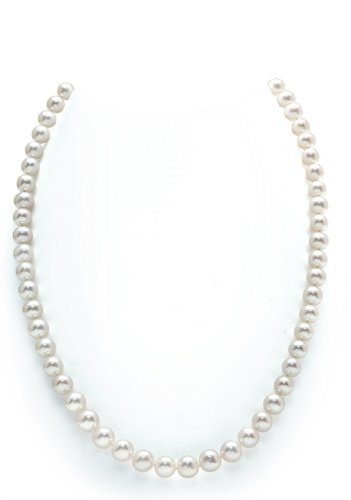 14K Gold White Freshwater Cultured Pearl Necklace, 18″ Princess Length