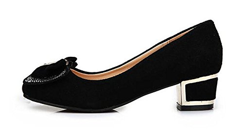 Easemax Womens Sweet Bow Strass Punta Rotonda Slip On Mid Tacco Grosso Pumps Shoes Nero