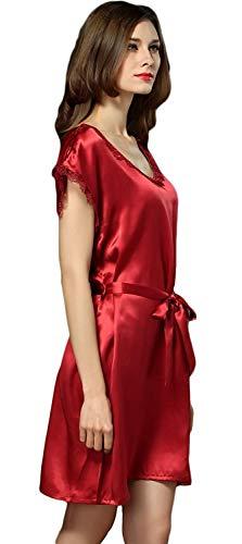 Dormir Especial Cuello Winered Pijama Elegantes Cortos Suave Manga Cómodo Redondo Fashion Unicolor Camisones Camisón Estilo Vestido De Verano Silk Casuales Anchas Mujer Corta v0qnOFR