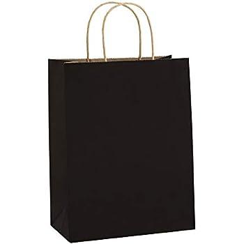 Gift Bags 8x4.25x10.5 25Pcs BagDream Black Paper Bags, Paper Gift Bags with Handles, Paper Shopping Bags Kraft Bags Retail Bags Party Bags Merchandise Bags