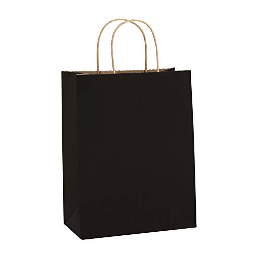 BagDream Kraft Paper Bags 8x4.75x10.5 Inches 100Pcs Gift Bags Party Bags Shopping Bags Kraft Bags Retail Bags Black Paper Gift Bags with Handles Bulk ()