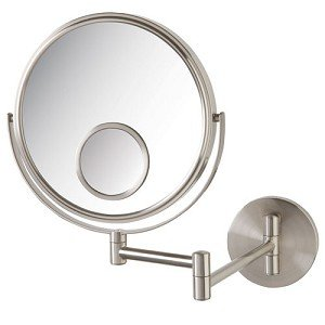 Jerdon JP7510N Wall Mount Makeup Mirror with 10x and 15x Magnification, Nickel Finish, 8