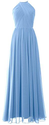 MACLoth Women Halter Long Bridesmaid Dress Chiffon Formal Gown with Open Back Cielo azul