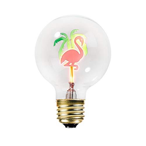 Bitten Flamingo and Palm Tree Filament LED Light Bulb - Decorative Replacement Lightbulb - Tropical Home Decor Lighting