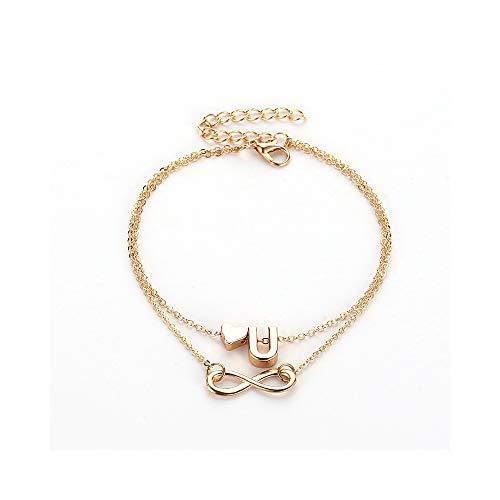 Gold Double Chain Bracelet - WLLAY A-Z Initial Letter Infinity Endless Love Symbol Bracelet Anklets Gold Double Chain Anklet Jewelry for Women (J)