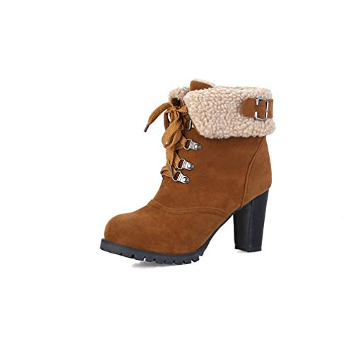 ChyJoey Women High Heel Winter Ankle Booties Block Heel Round Toe Buckle Cuffed Lace Up Warm Suede Boots Brown