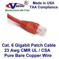 (Made in USA, Vaster SKU -81977-3 Ft Cat6 Patch Cable RED (Not CCA Wire 100% Copper (UL CSA CMR ETL) 23Awg Solid Wire RJ45 Snagless Straight Patch Cable)