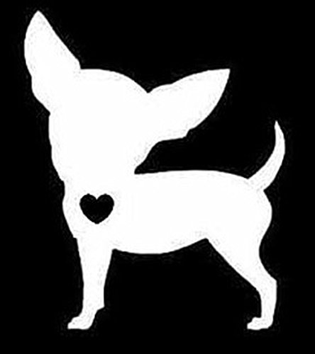 Chihuahua with Heart Decal Vinyl Sticker|Cars Trucks Walls Laptop|WHITE|5 In|CCI333