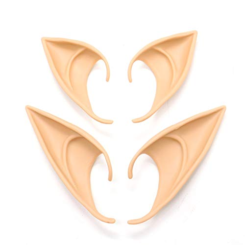 AQUEENLY Elf Ears Cosplay Halloween Party Costume,2 Pair Fairy Pixie Goblin Ears Soft Pointed Ears, Natural Skin Color