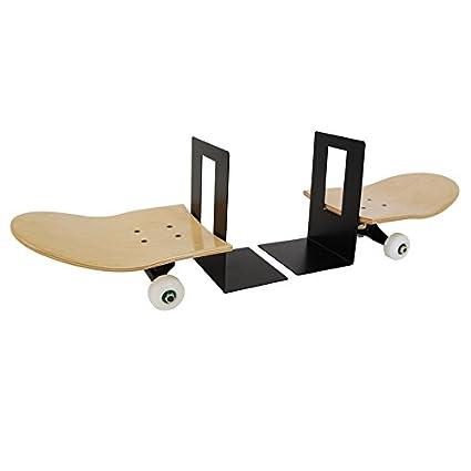 Par de Sujetalibros de monopatin original, skateboard, eje y ruedas, madera barnizada natural