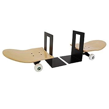Set bestehend aus zwei bookends. Skateboard Bücherstützen bookends. Holzständer für Bücher. Geschenkidee für Skateboardfahrer