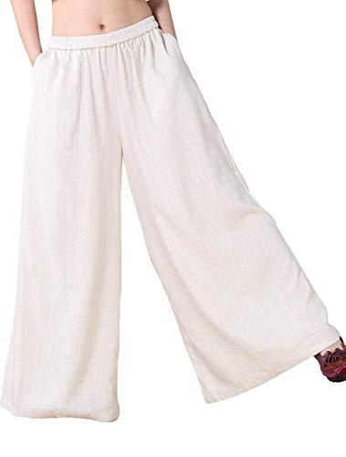 Mordenmiss Women's Linen Wide leg Elastic Waistband Pants with Pockets (2XL, Beige)