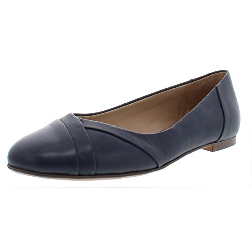 Naturalizer Womens Gilly Leather Dressy Flats Navy 9.5 Medium (B,M)