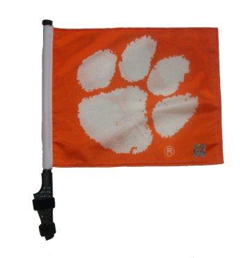 CLEMSON UNIVERSITY Flag with SSP Flags Pole and EZ On & Off Bracket / Golf Cart Flag ()