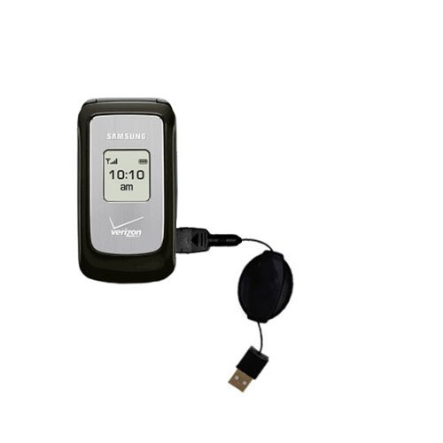 Compact and retractable USB Power Port Ready charge cable designed for the Samsung SCH-u310 and uses TipExchange