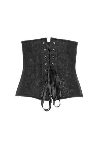 E-SHINE CO De las mujeres de talla Overbust Boned cintura apretando cors¨¦ S-6XL Negro
