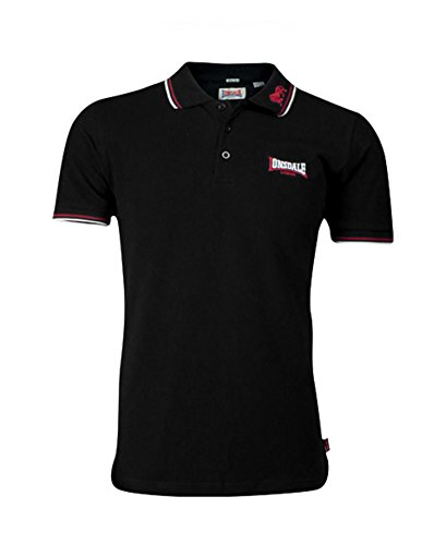 Lonsdale Men´s Slim-fit Tipped Pique Polo Shirt Embroided Lion 100% Cotton (Large (L)) Black - White Tipped Pique Sport Shirt
