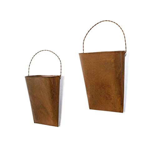 GRILA Rustic Hanging Bucket Planter Set 2 - Metal Rusty French Provincial Bucket Set of 2 Farmhouse Kitchen Style vase Pocket planters with Handles. Great Home Decor or Practical Planting containers