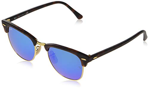 Ray-Ban RB3016 Clubmaster Square Sunglasses, Tortoise & Gold/Blue Flash, 51 mm
