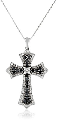 10k White Gold Black and White Diamond Cross Pendant (1.00 cttw, I-J Color, I2-I3 Clarity), 18″