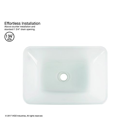 VIGO VG07083 Rectangular White Frost Glass Vessel Bathroom Sink, White Frost/Rectangular White Frost by VIGO (Image #2)