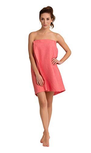 Premium Turkish Cotton Women's Lightweight Knee Length Spa/Bath Waffle Body Wrap with Adjustable Hook-and-Loop Tape ()