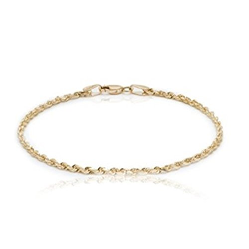 """BH 5 Star Jewelry 10k Yellow Gold Solid Diamond Cut Rope Chain Bracelet and Anklet for Men & Women, 2.25mm (0.09"""") (7)"""