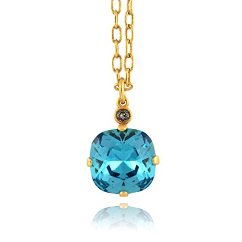 Catherine Popesco Gold Plated Electric Blue Swarovski Crystal Pendant Necklace, 16