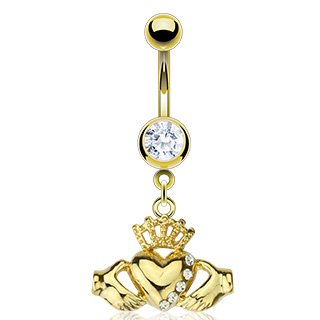 (Jinique SBJ-0016 Gold Plated Over Stainless Steel Navel Ring with Multi CZ Claddagh Dangle (Gold))