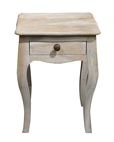 - YoTreasure Solid Mango Wood Nightstand End Table with Drawer, White