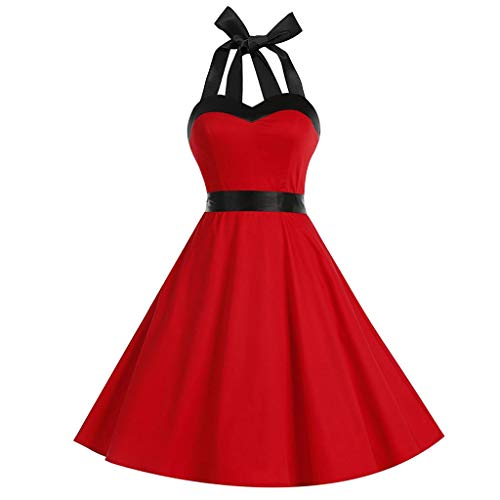(iLUGU Fashion Womens Dress Sleeveless Halter Dress Vintage Dress Solid Color Dress Bow Retro Dress Ball Gown Dress Swing)