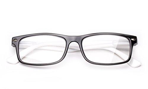 Newbee Fashion - Unisex Translucent Simple Design No Logo Clear Lens Glasses Squared Fashion Frames Black/White