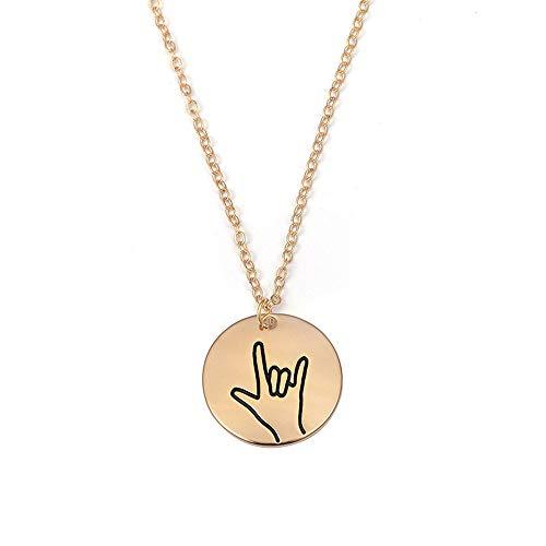 RUIZHEN I Love You Sign Symbol Necklace Sign Language Disc Charm Pendant Necklace (Love)