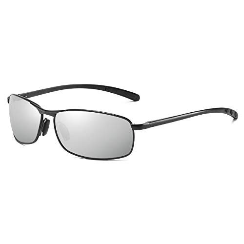 ZHILE Rectangular Polarized Sunglasses Al-Mg Alloy Temple Spring Hinge UV400 (Black/Silver, Silver mirrored)