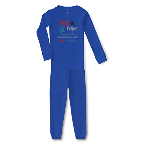 Personalized Custom Grandpa Hugs and Fishes Favorite Catch Cotton Crewneck Boys-Girls Infant Sleepwear Pajama 2 Pcs Set - Royal Blue, 18 Months