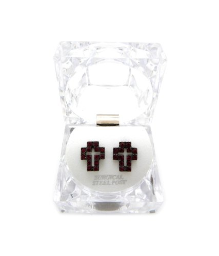 Pierced Lucite Earrings (New Iced Out Cross Piece Pierced Post Fashion Earring w/Clear Lucite Box EX028RD)