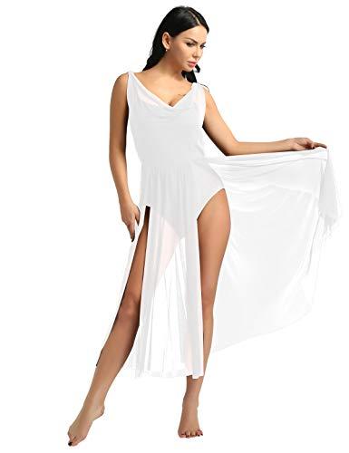 YiZYiF Lyrical Women Adult Dance Dress Leotard Mesh Neck Dancewear Flowy Long Slit Skirt White Small