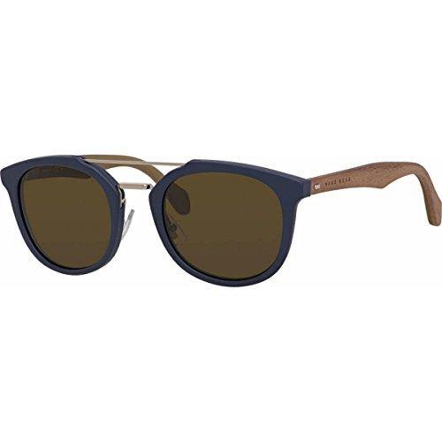 BOSS by Hugo Boss Men's B0777S Square Sunglasses, Blue Brown/Brown, 51 - Glasses Hugo Blue Boss