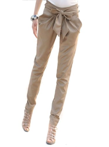 Amoin Women's Bowknot Baggy Harem Pants Solid Casual Skinny Trousers