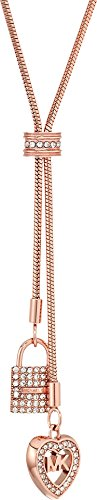 Michael Kors Womens Rose Gold-Tone Charm Y Shaped Necklace, One Size by Michael Kors