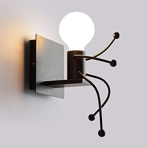 Single Villains - Creative Industrial Wall Lamp Personality Simple Modern Living Room Bedroom Bedside Decoration Light Art Villain Corridor Corridor Lamp Single Head Wall Sconce Black[Energy Class A + +] (Size : M)